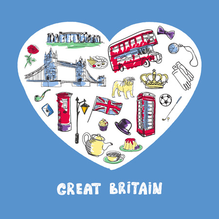 Love Great Britain. White heart filled with vintage doodles related with England isolated on blue background vector illustration. Memories about European journey. Sketched icons with national symbols