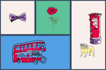 english rose: English national symbols. Bow tie, rose, double-decker bus, bulldog, post hand drawn vector illustrations on colored backgrounds set. For travel company ad, touristic concepts, web pages design