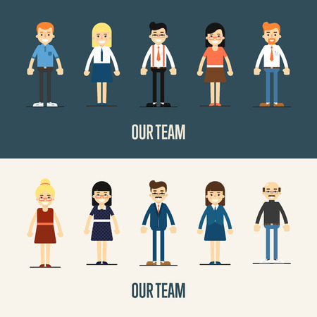 our people: Group of smiling cartoon people standing on white and gray background. Our team banner, vector illustration. Teamwork and business team concept. Human resource management. Business success. Illustration