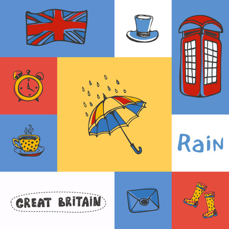 gumboots: Great Britain checkered concept in national colors. Umbrella, telephone box, cylinder hat, Union Jack, five oclock tea, gumboots hand drawn vector icons. Country related doodle symbols and text