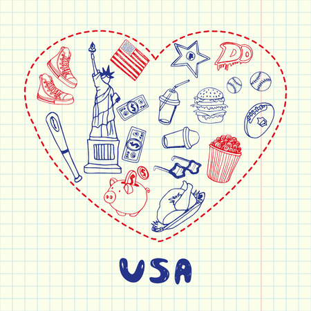 blue pen: Love United States of America. Dotted heart filled with doodles associated with american nation on squared paper vector illustration. Memories about USA journey. Sketched with red and blue pen icons