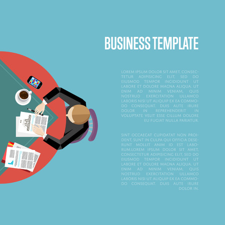 overhead: Top view business workplace, vector illustration. Overhead view of businessman working with financial documents at office desk. Business people template with space for text on blue background.