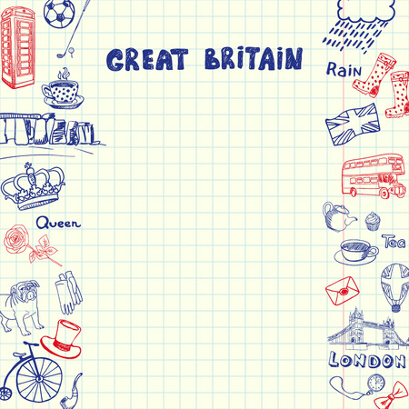 sketched icons: Great Britain national symbols. English cultural, historical, architectural, traditions related doodles drawn on sides of squared paper sheet with copy space vector illustration. Pen sketched icons Illustration