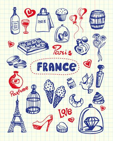 Frankrijk en Parijs bijbehorende symbolen. Franse nationale, culturele, culinaire, architecturale, mode-gerelateerde doodles getrokken op gekwadrateerde papier vectorillustraties instellen. Geschetst met pen romantische pictogrammen
