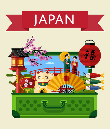 Japan travel banner with famous attractions in big open suitcase. Travelling vector illustration. Time to travel concept. Road trip and tourism. Japan landmarks. Asian architecture in flat design Vettoriali