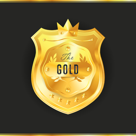 signatory: Gold metal badge vintage style isolated vector illustration