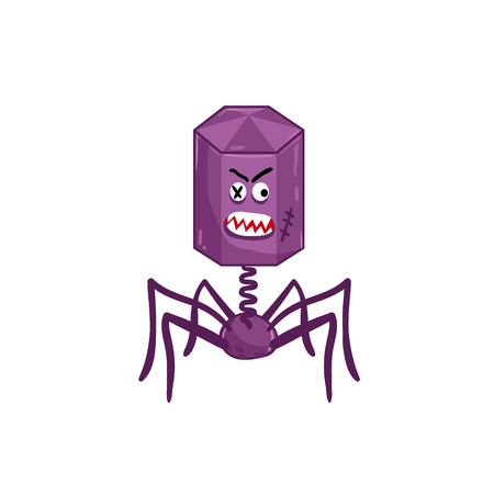 Cartoon virus character isolated vector illustration on white background. Cute fly germ virus infection vector character. Funny micro bacteria character. Microbe, Pathogen.