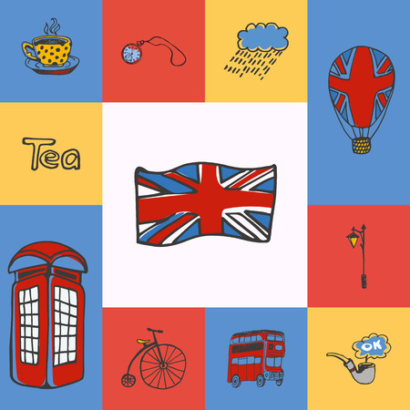 five o'clock: Great Britain checkered concept in national colors. Flag, telephone box, five oclock tea, bus, lantern, watch, smoking tube, balloon hand drawn vector icons. Country related doodle symbols and text