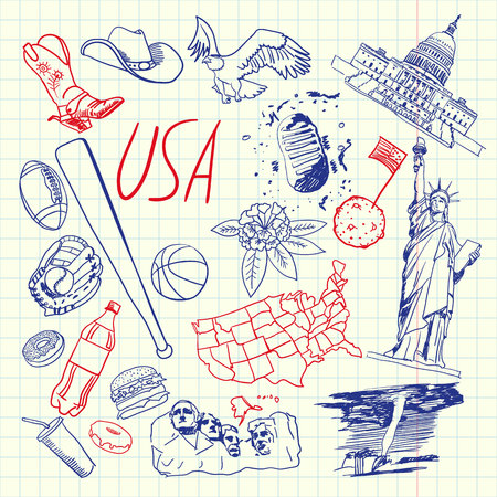 checked flag: United States of America national symbol. American cultural, culinary, sportive, historical, architectural, animal, scientific related doodle drawn on squared paper vector set. Sketched with pen icons Illustration