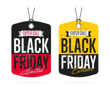 Black Friday sale tag sticker vector isolated. Discount or special offer price tag on Black Friday. Promo offer or ad offer on special shopping day. Vettoriali