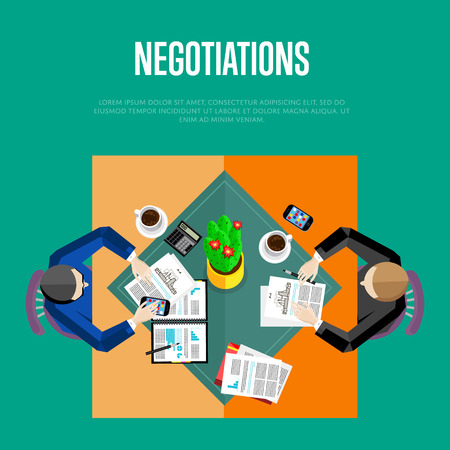 negotiations: Business negotiations concept. Top view business workplace, vector illustration. Overhead view of businessmen talking at office desk in conference room. Business people template. Illustration