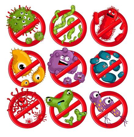 microbio: Dibujos animados personajes virus aislados ilustración vectorial sobre fondo blanco. virus de germen mosca simpáticos personajes infección por vectores. Divertidos personajes micro bacterias. Detener los virus símbolo. Microbio, patógenos.
