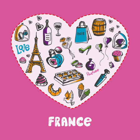 european culture: Love France. White heart filled with vintage doodles related with french culture isolated on pink background vector illustration. Memories about European journey. Sketched icons with national symbols Illustration