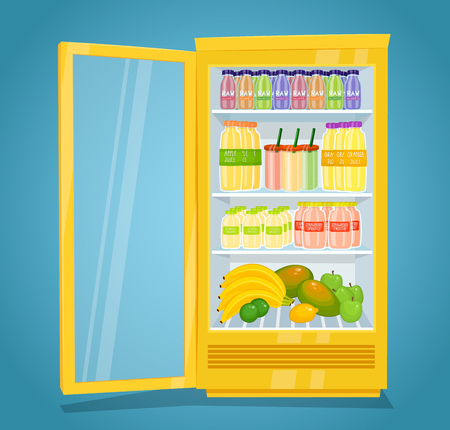 Commercial refrigerator full of fruity products. Opened fridge filled with fruits, juices and smoothies in bottles vector illustration on blue background. Saving freshness of products. For grocery ad