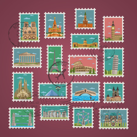 postmarks: Postage stamps and postmarks with famous architectural compositions vector illustration. Worldwide architecture attractions set, traditional and modern buildings. Stamp travel collection