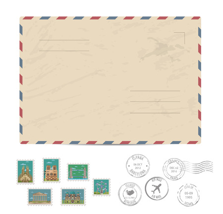 postmarks: Blank postal envelope with postage stamps and postmarks on white background vector illustration. Stamps set with world famous architectural composition. Postal services. Envelope delivery.