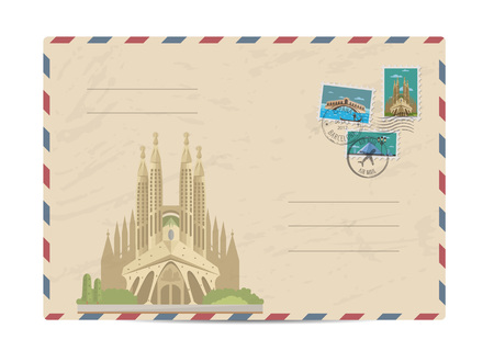 postmarks: Cathedral of the Sagrada Familia in Barcelona, Spain. Postal envelope with famous architectural composition, postage stamps and postmarks vector illustration. Postal services. Envelope delivery