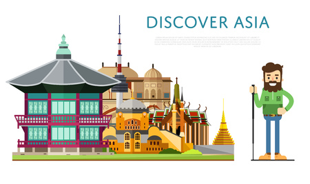discover: Discover Asia banner with smiling tourist on background of famous traditional and modern architecture attractions. Hiking, travel lifestyle concept with historic architectur. Asian landmarks.