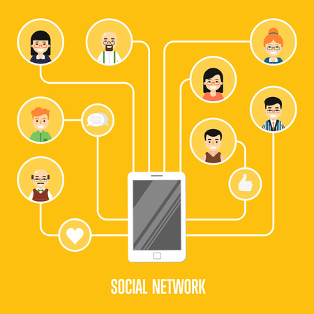 mobile communications: Round people icons connected with smartphone. Social network banner on yellow background, vector illustration. Smiling cartoon characters. Teamwork concept. Mobile communications. Connecting people