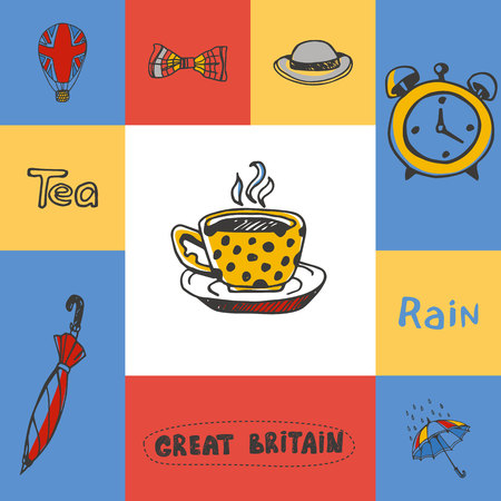 five o'clock: Great Britain checkered concept in national colors. Five oclock tea, bowler hat, bow tie, rain, umbrella, alarm-clock, balloon hand drawn vector icons. Country related doodle symbols and text