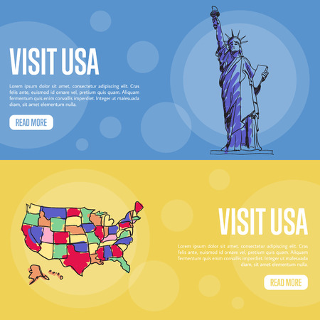 visit us: Visit USA banners. Statue of Liberty, United States borders map hand drawn vector illustrations on colored backgrounds. Web templates with country related symbols. For travel company web page design Illustration