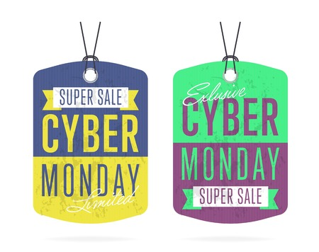 Cyber Monday sale tag sticker vector isolated. Discount or special offer price tag on Cyber Monday. Promo offer or ad offer on special shopping day. Illustration