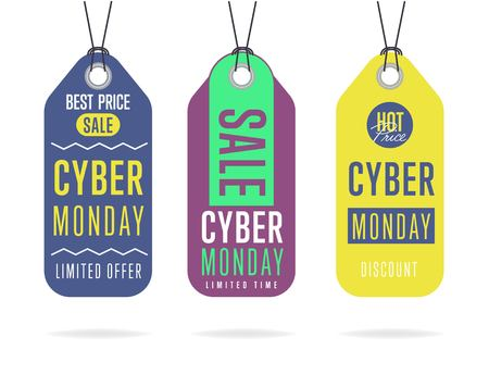 Cyber Monday sale tag sticker vector isolated. Discount or special offer price tag on Cyber Monday. Promo offer or ad offer on special shopping day. Ilustração
