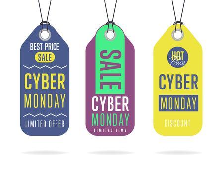 Vettore adesivo dell'autoadesivo di vendita di lunedì cyber isolato. Sconto o prezzo di offerta speciale su Cyber ??Monday. Offerta promozionale o offerta di annunci in una giornata di shopping speciale.