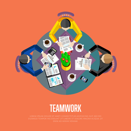 overhead view: Teamwork concept. Top view workspace background, vector illustration. Business workplace with people, paperwork, laptop, cup of coffee and other objects on table. Business team work process