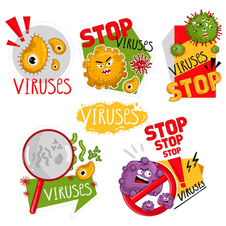 Cartoon viruses characters isolated vector illustration on white background. Cute fly germ virus infection vector characters. Funny micro bacteria characters. Stop viruses symbol.