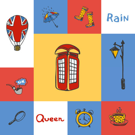 telephone box: Great Britain checkered concept in national colors. Telephone box, lantern, tea, umbrella, gumboots, magnifier, smoking tube, balloon hand drawn vector icons. Country related doodle symbols and text