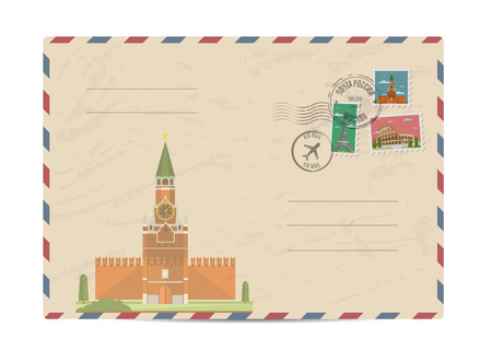 postmarks: Kremlin palace at Red Square in center of Moscow. Postal envelope with famous architectural composition, postage stamps and postmarks vector illustration. Postal services. Envelope delivery Illustration