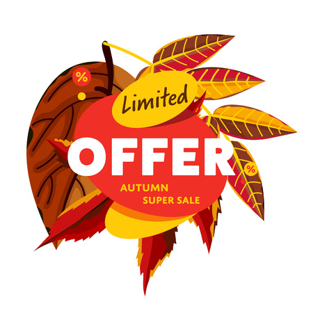 incredible: Autumn sale design template, vector illustration. Limited offer, autumn super sale banner with colorful leaves on white background. Incredible sale proposition. Flayer design for shop