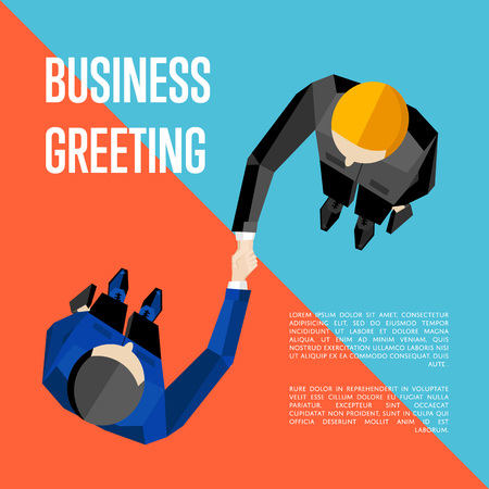 Business greeting, vector illustration. Top view of two businessmen shaking hands to confirm their partnership. Business people meeting concept on red and blue background with space for text