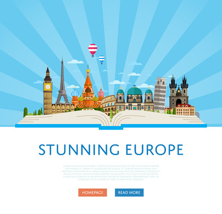 stunning: Stunning europe poster with Eiffel Tower, Leaning Tower, Big Ben, Kremlin and others famous architectural attractions on big open book vector illustration. Time to travel concept. Worldwide traveling