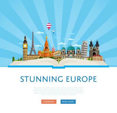cartel europa impresionante con la Torre Eiffel, Torre de Pisa, el Big Ben, el Kremlin y otros famosos lugares de interés arquitectónico en la ilustración gran libro abierto vector. Tiempo al concepto de viaje. itinerante en todo el mundo
