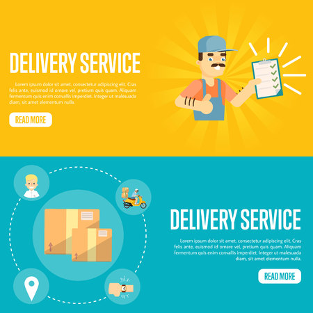 Smiling delivery man in uniform with clipboard on yellow background. Closed cardboard boxes on blue background. Delivery service website templates, vector illustration. Professional courier concept. Illustration