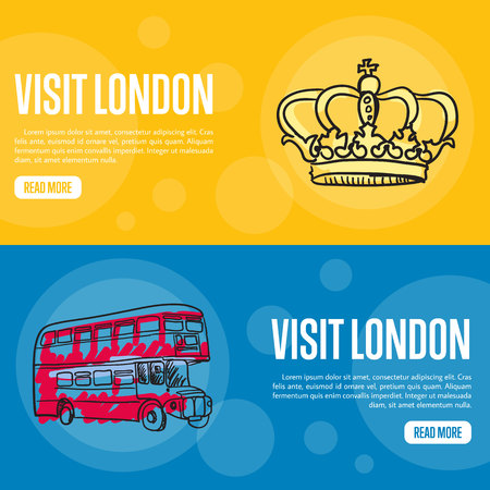 english famous: Visit London touristic banners. Red double decker bus, Royal crown hand drawn vector illustrations on colored backgrounds. English famous national symbols. For travel company landing page design