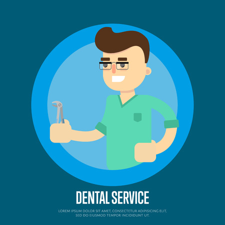 orthodontist: Smiling male dentist in green medical uniform holding dental pliers on blue background. Dental service vector illustration. Cartoon character in flat design. Oral hygiene. Stomatology clinic concept