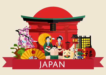 torii: Japan famous traditional symbols on background of red sun circle with torii gate, isolated vector illustration. Travel concept with girl in traditional kimono, fan and sumo wrestler. Japanese culture