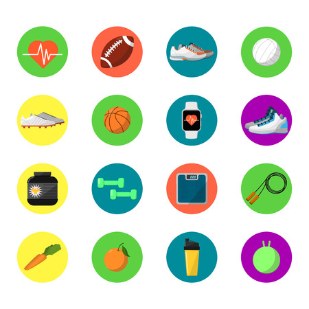 weigher: Sports and nutrition vector illustration, round icons set. Protein shaker, jump rope, sneakers, weigher, ball, fruit, sports bottle. Sport and healthy lifestyle. Athletic and fitness equipment.
