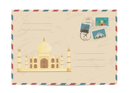 postmarks: Ancient palace Taj Mahal. Postal envelope with famous architectural composition, postage stamps and postmarks on white background vector illustration. Postal services. Envelope delivery. Illustration