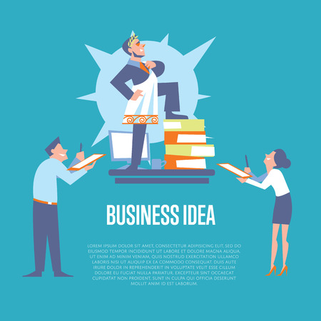 subordinate: Big boss in roman toga and laurel wreath standing on office table before subordinate workers. Business idea banner, isolated vector illustration on blue background. Teamwork concept. Startup idea Illustration