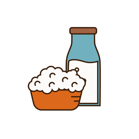 cottage cheese: Dairy icon in line style design with cottage cheese on plate and glass bottle with milk, isolated vector illustration. Traditional and healthy products. Organic farming. Natural and healthy food