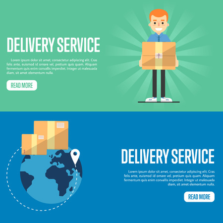 Smiling delivery boy with cardboard box on green background. Cardboard boxes on blue background with globe. Delivery service website templates, vector illustration. Shipping and moving.