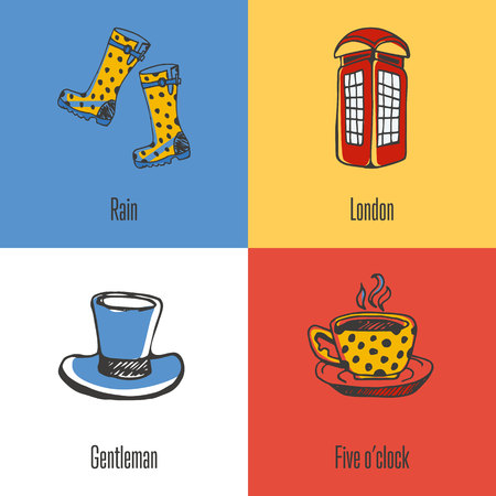 red telephone box: British national, cultural, architectural, nature symbols. Phone box, cup of tea, cylinder hat, gumboots doodle vector icons with caption on colored backgrounds. Country concept for travel company ad