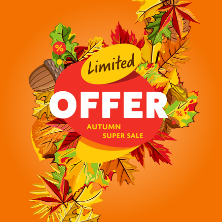 Autumn sale design template, vector illustration. Limited offer, autumn super sale banner with colorful leaves on orange background. Advertisement about autumnal discount. Backdrop with orange foliage Illustration