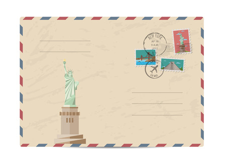 postmarks: Statue of Liberty, New York. Postal envelope with famous architectural composition, postage stamps and postmarks on white background vector illustration. Airmail stamp. Envelope delivery.