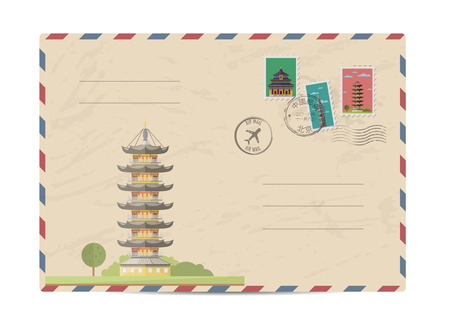 chinese postage stamp: China vintage postal envelope with postage stamps and postmarks on white background, isolated vector illustration. Chinese ancient pagoda. Air mail stamp. Postal services. Envelope delivery. Illustration