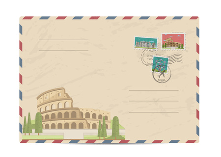 amphitheater: Coliseum in Rome, Italy. Ancient antique amphitheater. Postal envelope with famous architectural composition, postage stamps and postmarks vector illustration. Postal services. Envelope delivery